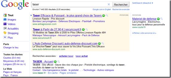 tasers sur Google