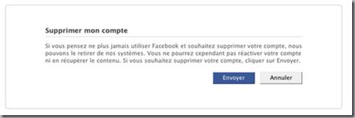 demande de suppression du compte Facebook