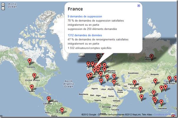 Demandes de Google au gouvernement français