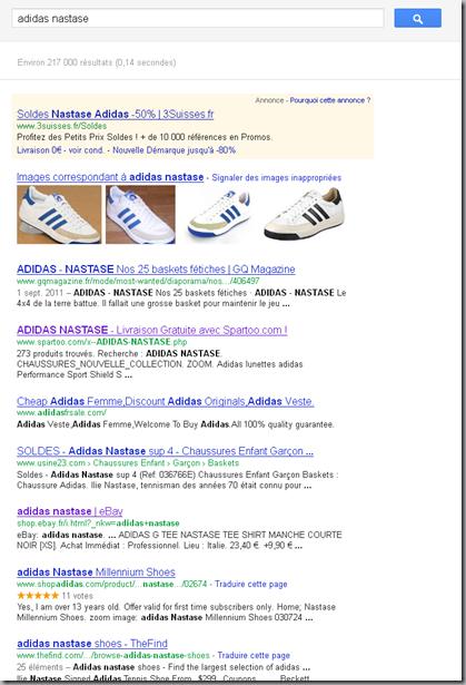 Adidas Nastase sur Google