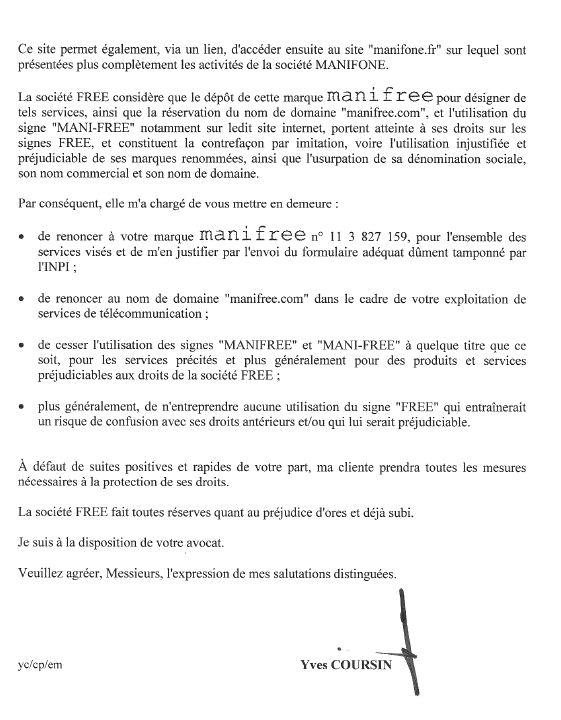 Free lettre