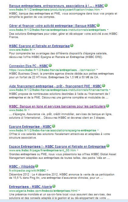 SERP HSBC entreprise