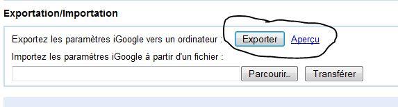 Exporter iGoogle