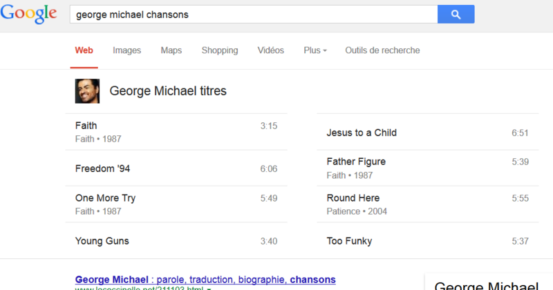 George michael chansons sur google