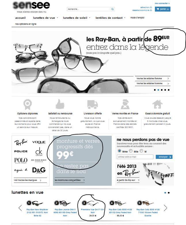 Vente de lunettes en ligne: écran de fumé