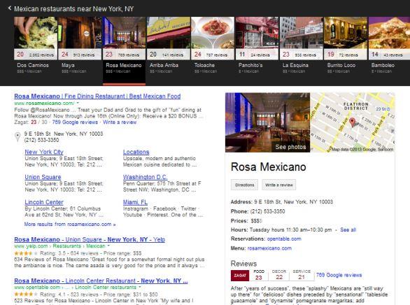 Carrousel google recherche locale