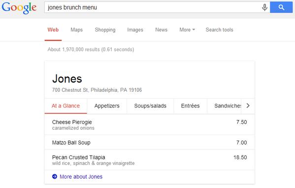 Menu par google