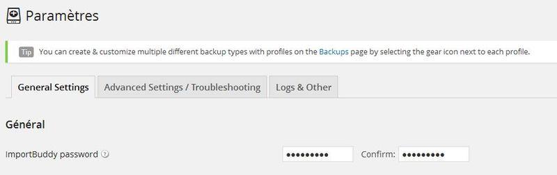 Password backupbuddy