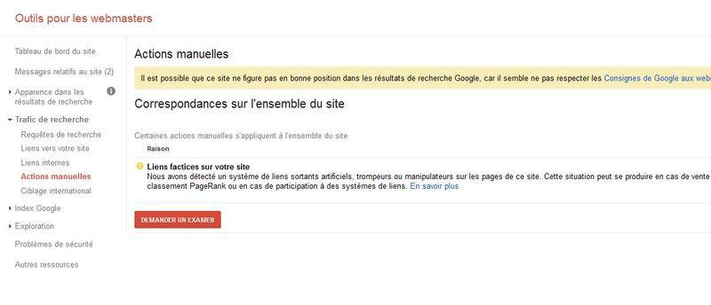 Pénalités manuelles de Google