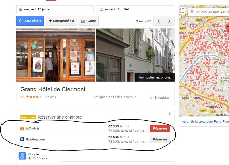 Réservation hotels google