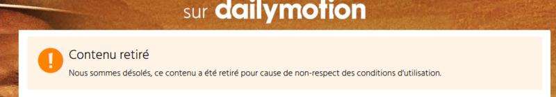 Contenu retiré dailymotion