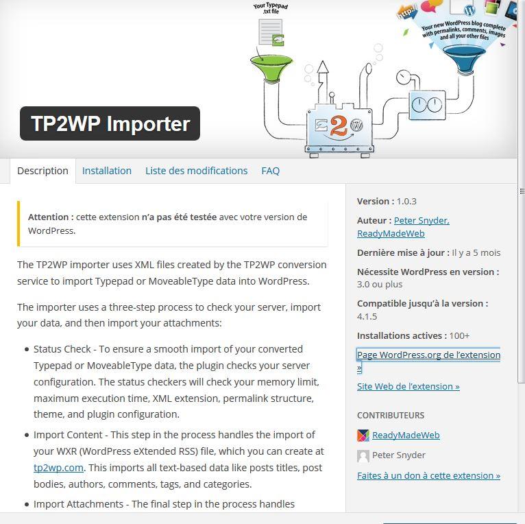Migration typepad wordpress