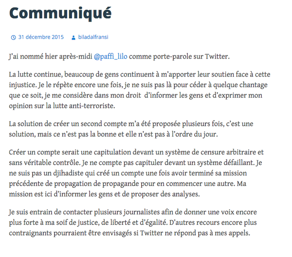 Suppression de compte twitter