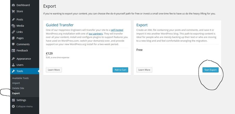 Export wordpress com pour migration typepad