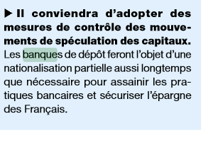 Nationalisation banque par FN