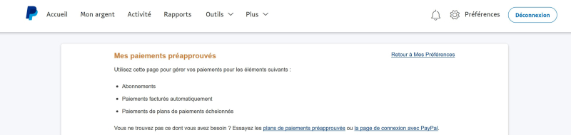 Paiements récurrents paypal